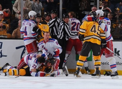 Boston Bruins New York Rangers Scrum