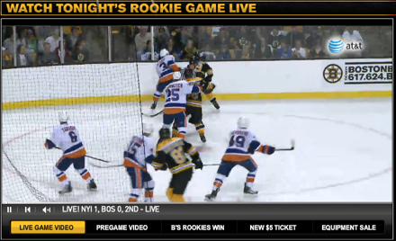 boston bruins rookie game live